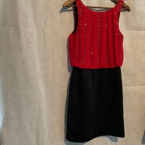 STUDIO Y DRESS SIZE S RES AND BLACK SPANDEX